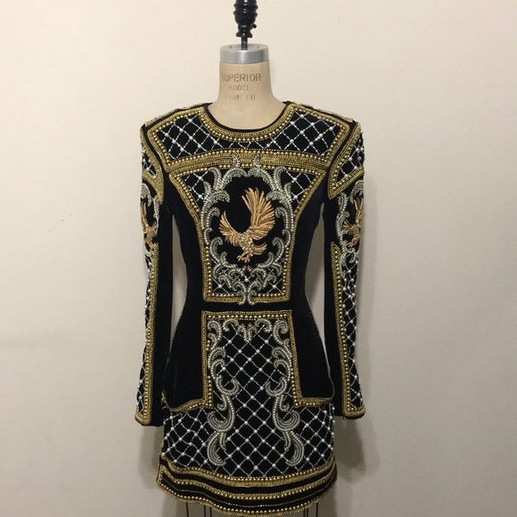 970c43d7bef Balmain Dresses   Skirts - Balmain x H M Black Gold Pearls Velvet Dress Rare